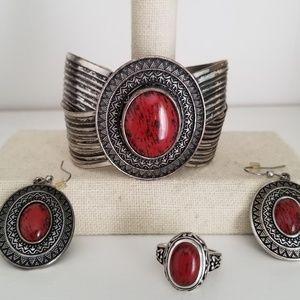 Premier Designs Red Spice bracelet and earrings